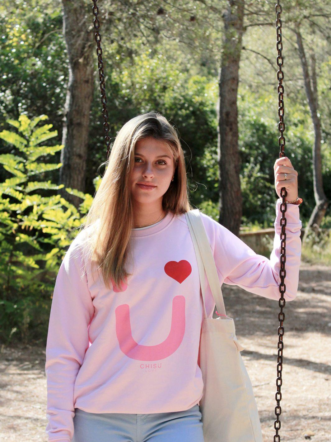 sudadera heart pink ppal