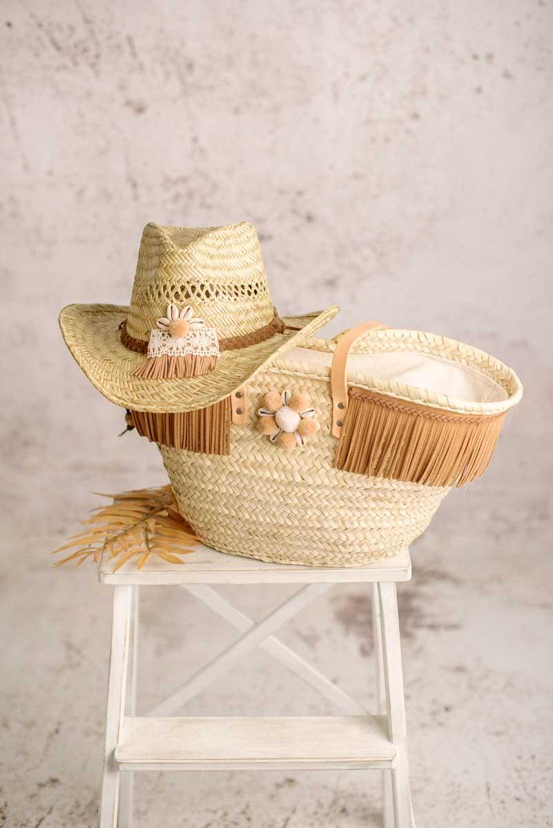 conjunto capazo y sombrero palma lula natura